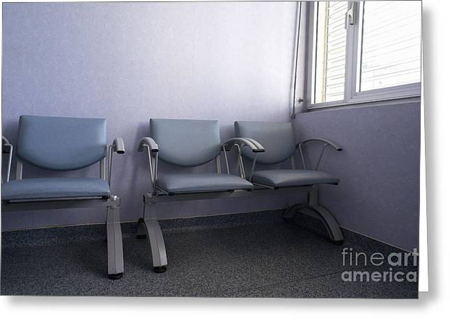 Empty seats in a waiting room Greeting Card by Sami Sarkis