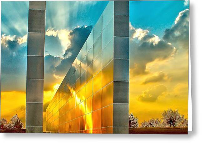 Empty Skies Sunset Greeting Card by Nick Zelinsky