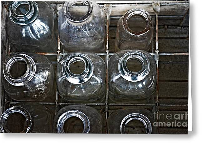 Milk Bottles And Crate Greeting Cards - Empty Slots Greeting Card by JW Hanley