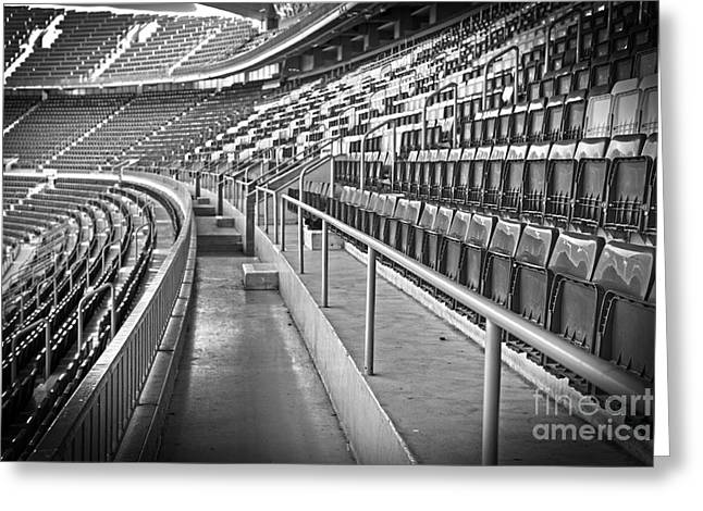 Empty Building Greeting Cards - Empty soccer stadium Greeting Card by Michal Bednarek