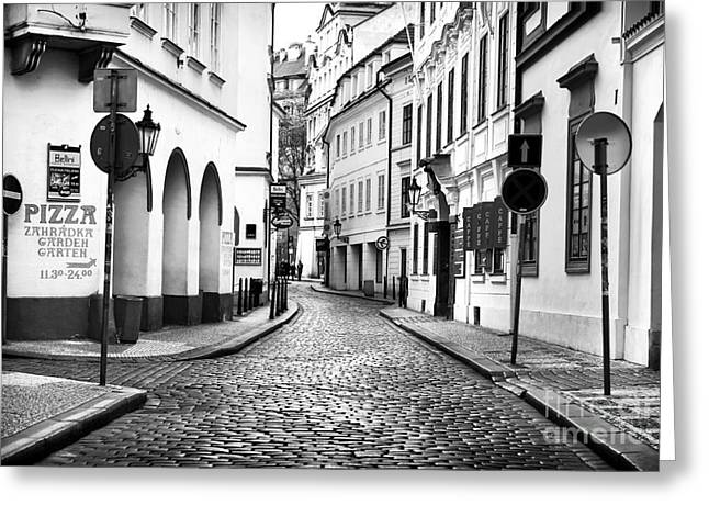 Empty Street Greeting Cards - Empty Street in Prague Greeting Card by John Rizzuto