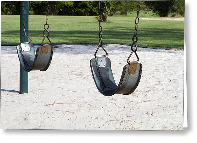 Missing Child Photographs Greeting Cards - Empty Swings Greeting Card by Steven Frame