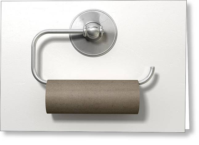 Hopelessness Greeting Cards - Empty Toilet Roll On Chrome Hanger Greeting Card by Allan Swart