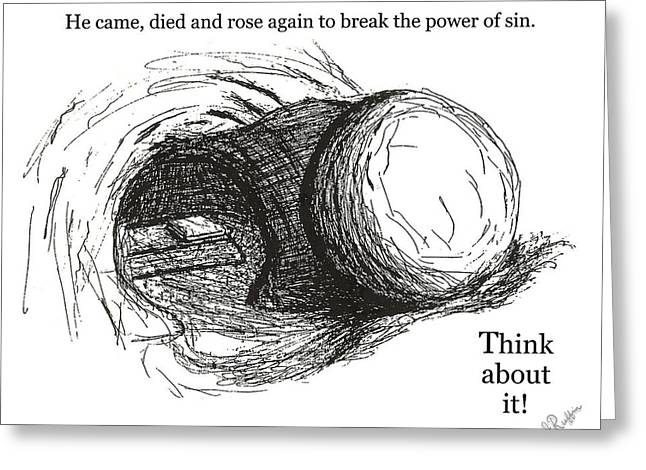 Resurrecting Drawings Greeting Cards - Empty Tomb Greeting Card by Jerry Ruffin