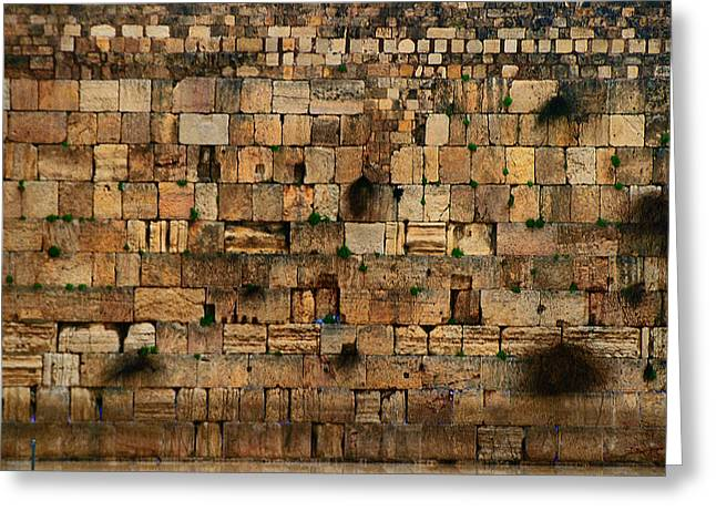 Old Western Photos Digital Art Greeting Cards - Close-up of Wailing Wall Greeting Card by Michael Braham
