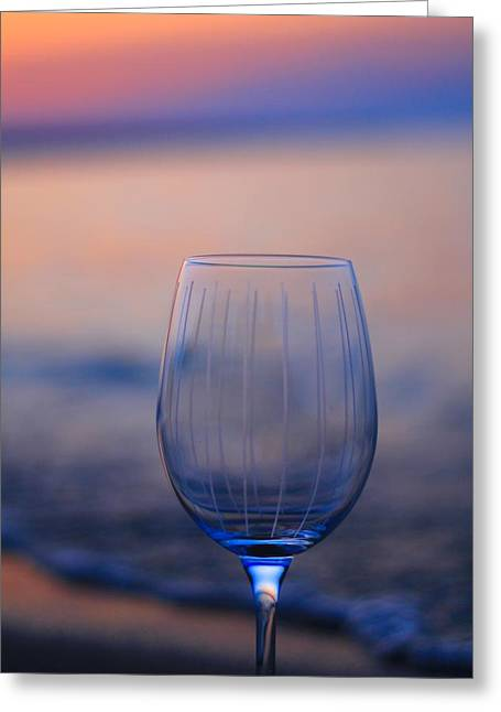 Taster Greeting Cards - Empty Wine Glass At Sunset Greeting Card by Dan Sproul