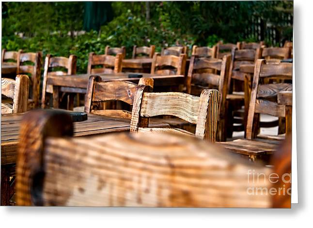 Social Organizations Greeting Cards - Empty Wooden Chairs and Tables Greeting Card by Leyla Ismet
