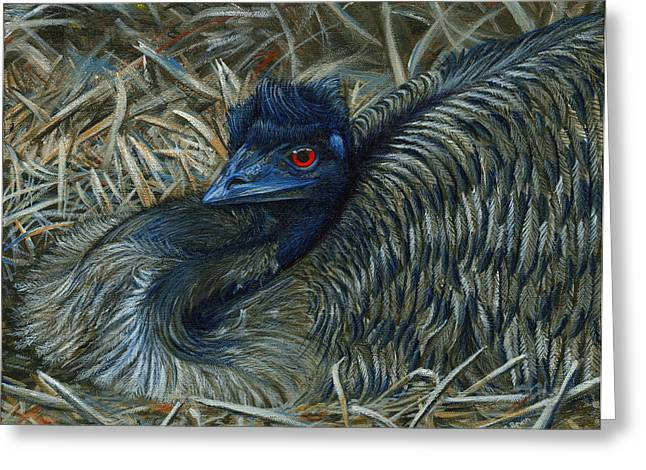 Emu Greeting Cards - Emu Elegance Greeting Card by Cara Bevan