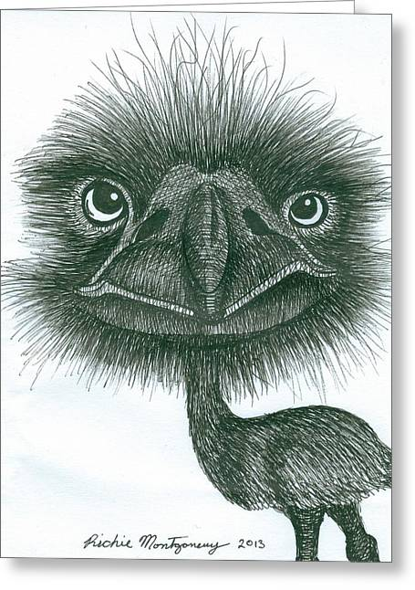 Richie Montgomery Greeting Cards - Emu Greeting Card by Richie Montgomery