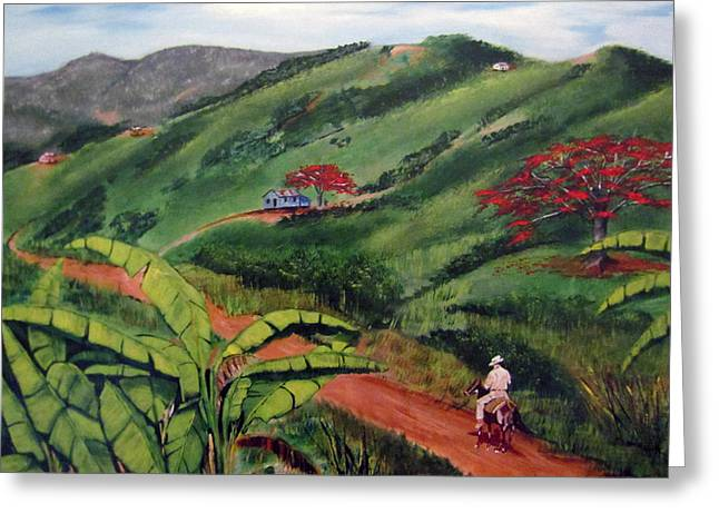 Campesino Greeting Cards - En El Campo A Caballo Greeting Card by Luis F Rodriguez