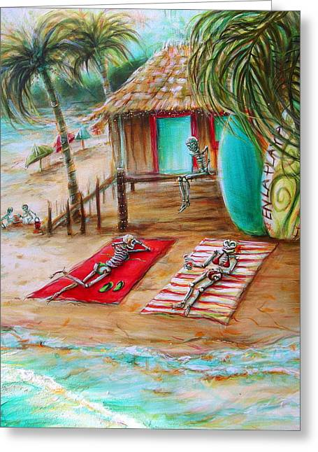 En La Playa Greeting Card by Heather Calderon