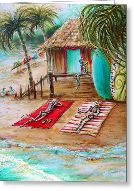 En La Playa Greeting Card by Heather Calderon