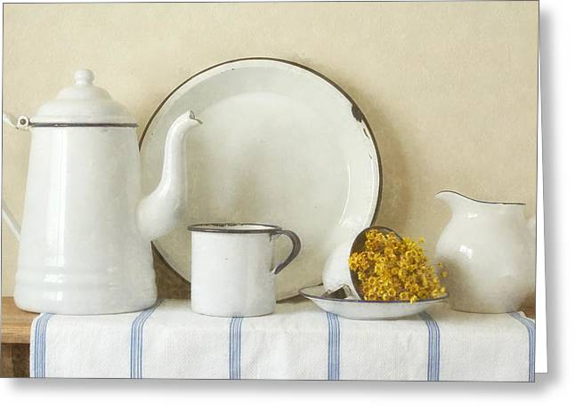 Selection Mixed Media Greeting Cards - Enamelware Greeting Card by Vicki McLead