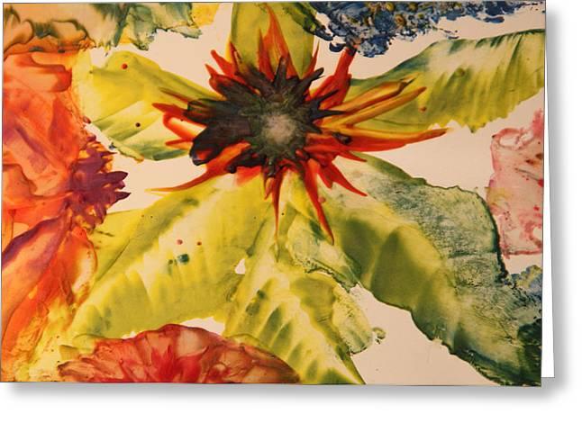 Angel Mermaids Ocean Greeting Cards - Encaustic Art Image 14 Greeting Card by Samira Butt