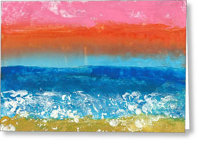 Encaustic Greeting Cards - Encaustic Sea Storm Greeting Card by Yury Malkov