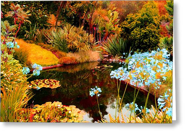 Water Garden Digital Art Greeting Cards - Enchaned Blue Lily Pond Greeting Card by Amy Vangsgard