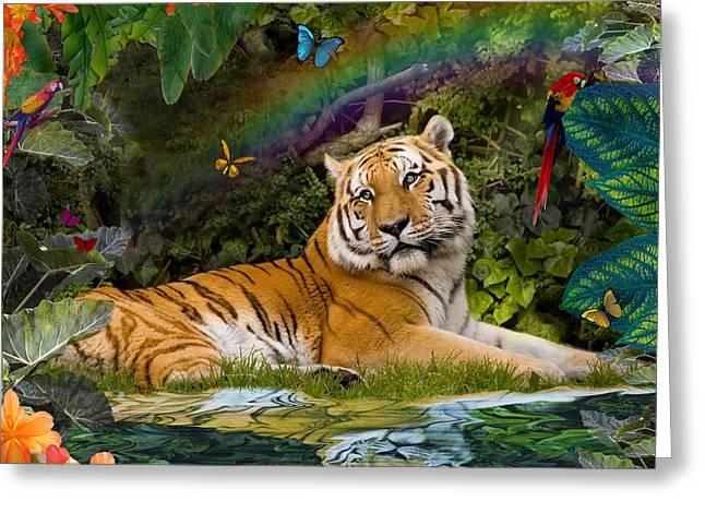 Alixandra Mullins Greeting Cards - Enchaned Tigress Greeting Card by Alixandra Mullins