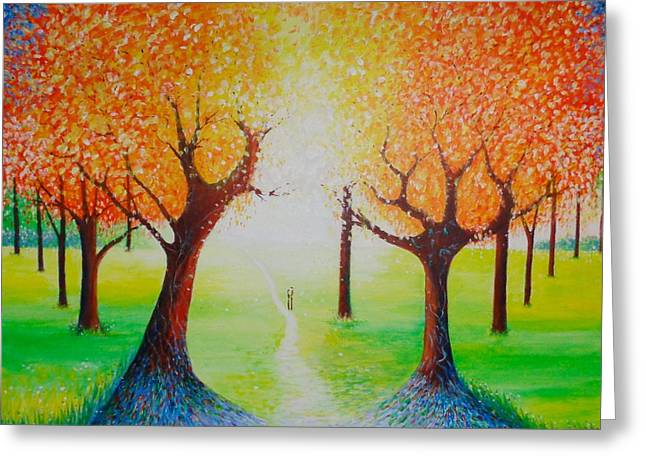 Abstract Realist Landscape Greeting Cards - Enchanted Day Greeting Card by Jean Tatton Jones