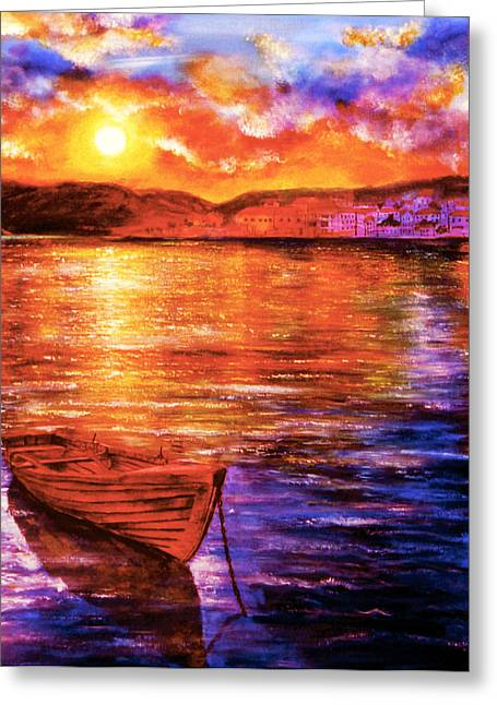Kinkade Greeting Cards - Enchanted Evening Greeting Card by Ann Marie Bone