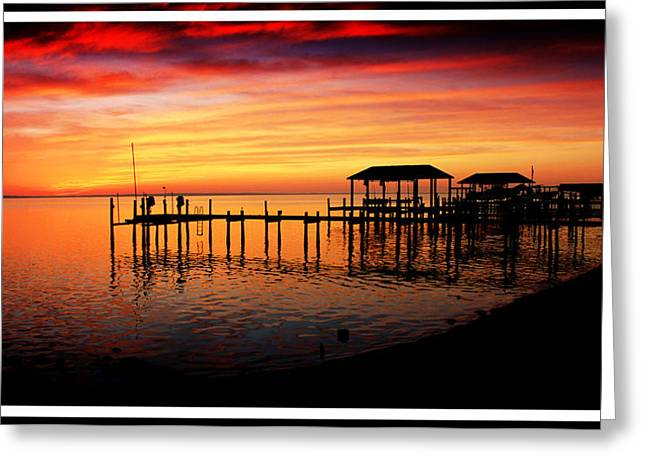 Boats At Dock Greeting Cards - Enchanted Evening at the Hilton Pier Greeting Card by Olahs Photography