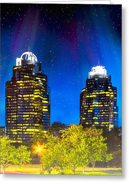 Green And Yellow Greeting Cards - Enchanted Evening At The King And Queen Towers - Atlanta Greeting Card by Mark Tisdale