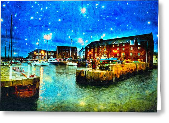 North Sea Greeting Cards - Enchanted Evening On North Berwick Harbor Greeting Card by Mark Tisdale