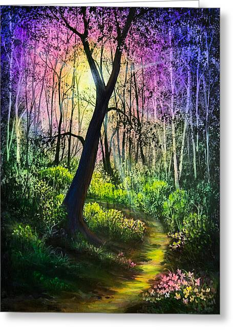 Sun Rays Paintings Greeting Cards - Enchanted Forest Greeting Card by C Steele