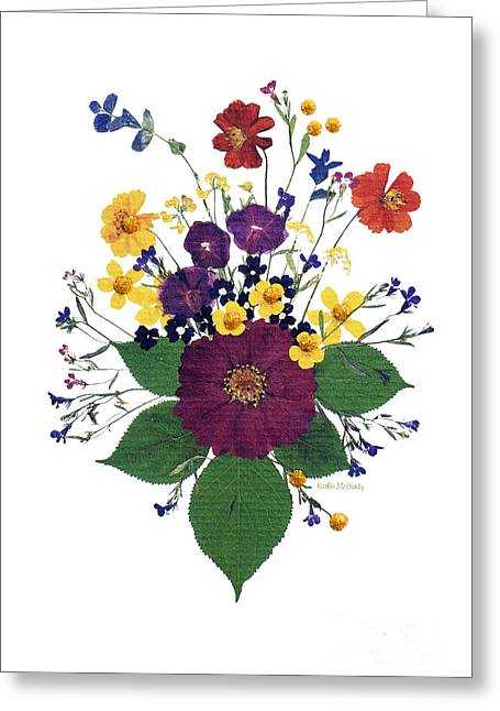 Pressed Flowers Greeting Cards - Enchanted Garden Big Bouquet Greeting Card by Kathie McCurdy