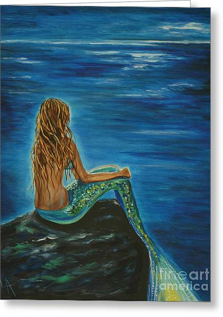 Mermaid Poster Greeting Cards - Enchanted Mermaid Beauty Greeting Card by Leslie Allen