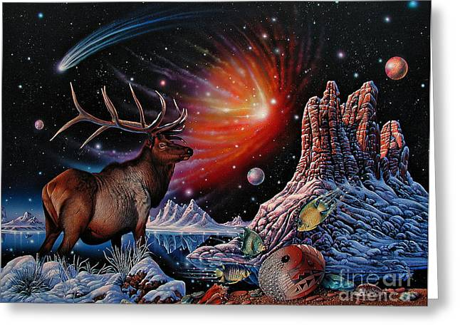 Nebula Paintings Greeting Cards - Enchanted Monarch Greeting Card by Ricardo Chavez-Mendez