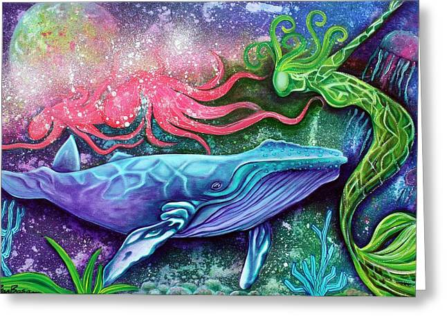 Humpback Whale Paintings Greeting Cards - Enchanted Ocean Greeting Card by Laura Barbosa