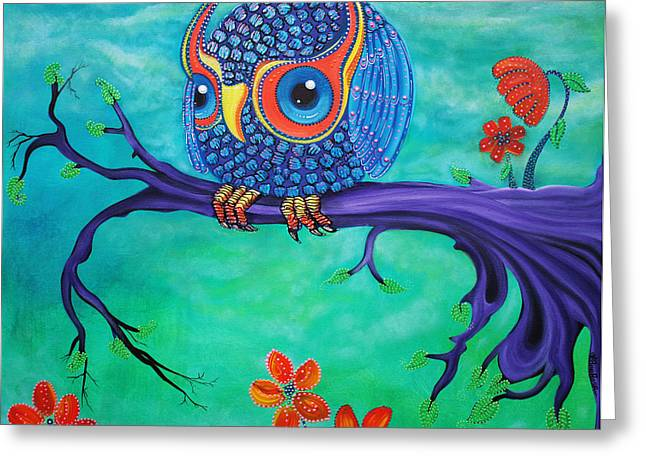 Fantasy Tree Greeting Cards - Enchanted Owl Greeting Card by Laura Barbosa