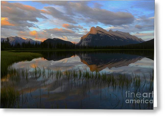 Rundle Greeting Cards - Enchanted Spaces Mount Rundle Banff 2 Greeting Card by Bob Christopher