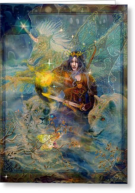 Steve Roberts Greeting Cards - Angel Tarot Card Enchanted Princess Greeting Card by Steve Roberts
