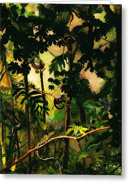 Sloth Paintings Greeting Cards - Enchanted Rainforest Greeting Card by Sue Burickson