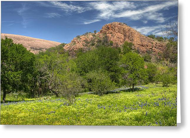 Monolith Greeting Cards - Enchanted Rock In Spring Greeting Card by Paul Huchton