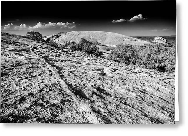 Dark Skies Greeting Cards - Enchanted Rock Texas Hill Country  Black and White Greeting Card by Silvio Ligutti