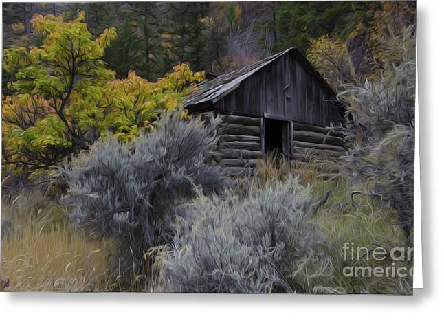 Log Cabins Greeting Cards - Enchanted Spaces Cabin In The Woods 1 Greeting Card by Bob Christopher