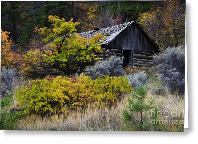Log Cabins Greeting Cards - Enchanted Spaces Cabin In The Woods 2 Greeting Card by Bob Christopher