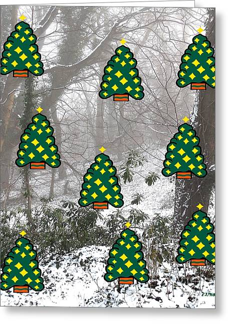 Snow Tree Prints Greeting Cards - Enchanting Christmas Forest Greeting Card by Patrick J Murphy