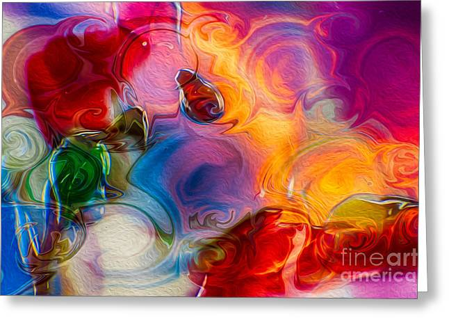 Owfotografik Mixed Media Greeting Cards - Enchanting Flames Greeting Card by Omaste Witkowski