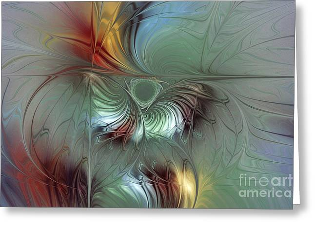 Subtile Greeting Cards - Enchanting Flower Bloom-Abstract Fractal Art Greeting Card by Karin Kuhlmann