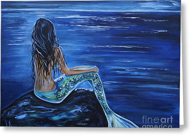 Anchor Underwater Greeting Cards - Enchanting Mermaid Greeting Card by Leslie Allen