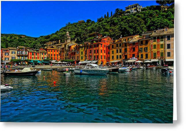 Portofino Italy Art Greeting Cards - Enchanting Portofino in Ligure Italy I Greeting Card by M Bleichner