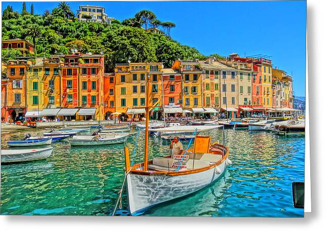 Portofino Italy Art Greeting Cards - Enchanting Portofino in Ligure Italy V Greeting Card by M Bleichner