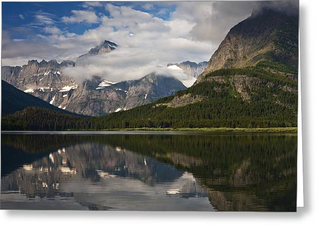 Many Glacier Greeting Cards - Enchanting Swiftcurrent Greeting Card by Mark Kiver