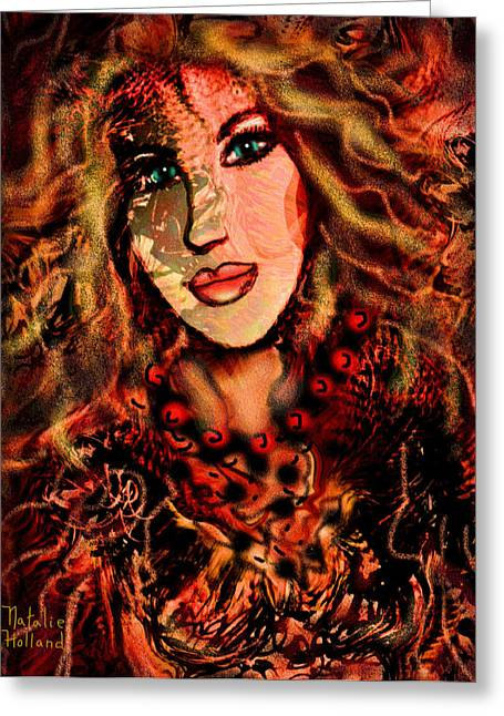 Flowing Blonde Hair Greeting Cards - Enchanting Woman Greeting Card by Natalie Holland