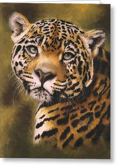 Jaguars Pastels Greeting Cards - Enchantress Greeting Card by Barbara Keith