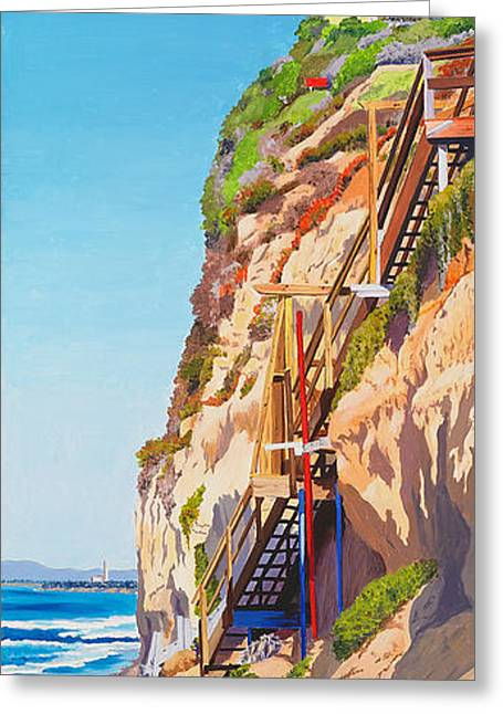 California Beach Greeting Cards - Encinitas Beach Cliffs Greeting Card by Mary Helmreich