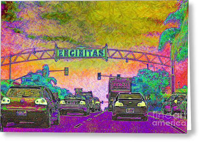 Old Town Digital Art Greeting Cards - Encinitas California 5D24221p68 Greeting Card by Wingsdomain Art and Photography